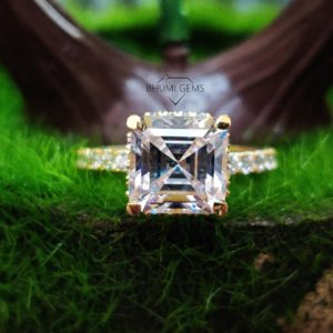 4.59TCW Asscher Colorless Moissanite Engagement Ring Solitaire Ring Vintage Anniversary Gift Promise Diamond Ring Silver Yellow Gold Jewelry