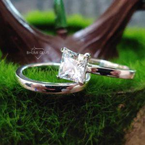 2CT Princess Cut Moissanite Wedding Set Ring | Bridal Set | Jewelry | Moissanite Ring | Engagement | Classic Band | Eternity Plain Band Gift