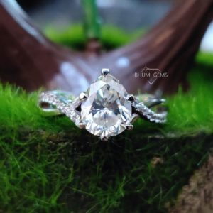2.49TCW Pear Colorless Moissanite Engagement Ring Wedding Halo Twisted Vintage Anniversary Gift Promise Diamond Ring, Silver Gold Jewelry
