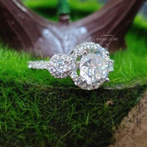 4.09TCW Round Cut Colorless Moissanite Engagement Ring Three Stone Set Diamond Halo Wedding Gold Vintage Antique Promise Anniversary Gift