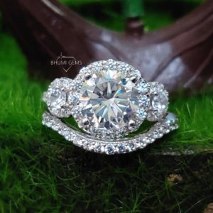 4.45TCW Round Moissanite Wedding Set Bridal Set Engagement Ring Three Stone Ring Eternity Band, Silver Gold Jewelry Antique Vintage Gift Her