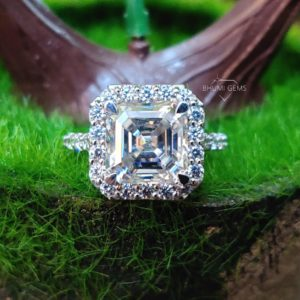 5.80TCW Asscher Colorless Moissanite Engagement Ring, Halo Ring, Wedding Bridal Set Antique Vintage Jewelry White/Yellow/Rose Gold, Gift Her