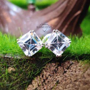 2CT Asscher Colorless VVS1 Diamond Moissanite Earrings For Women Wedding Bridal Engagement Custom Screw Back Stud Earring Solitaire Gift Her