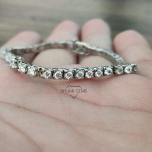 3.19TCW Round Colorless Diamond Moissanite Bracelet Women, Wedding Tennis Bracelet Eternity, Adjustable Diamond Bracelet, Engagement Bridal