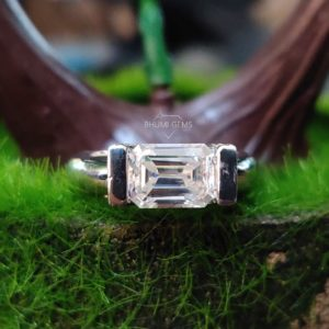 3.36TCW Emerald Cut Colorless Moissanite Engagement Ring, Wedding Bridal Solitaire Halo Band Eternity Accented Anniversary Promise Gift Her