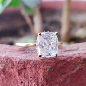 3.28TCW Elongated Cushion Moissanite Ring, Engagement Ring, Hidden Halo Ring, Wedding Ring, Yellow/Rose/White Gold Ring, Bride Set, Gift Her