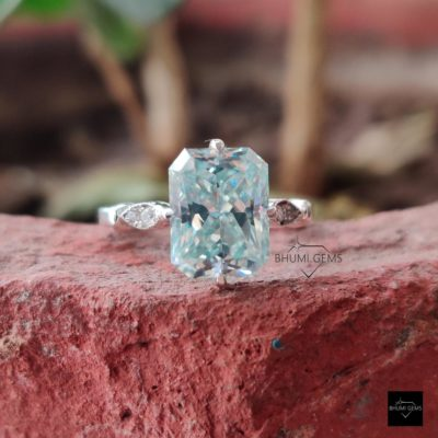 3.65TCW Light Blue Radiant Moissanite Engagement Ring, Vintage Ring, Wedding Bridal Ring, White/Rose/Yellow Gold Solitaire Ring, Anniversary | 3.65TCW Light Blue Radiant Moissanite Engagement Ring, Vintage Ring, Wedding Bridal Ring, White/Rose/Yellow Gold Solitaire Ring, Anniversary | Bhumi Gems