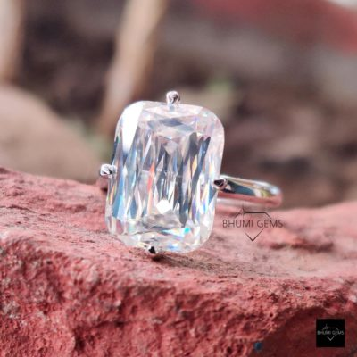 5CT Emerald Criss Cut Moissanite Solitaire Ring, Engagement Ring 4 Prong Setting, Vintage Ring, White Gold, Silver Antique Fancy Cut Ring | 5CT Emerald Criss Cut Moissanite Solitaire Ring, Engagement Ring 4 Prong Setting, Vintage Ring, White Gold, Silver Antique Fancy Cut Ring | Bhumi Gems