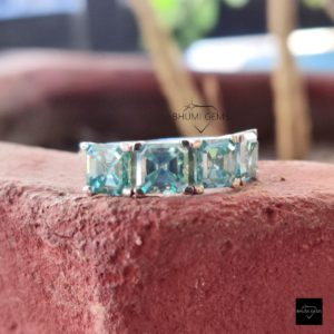 Blue 4 Stone Asccher Moissanite Ring Engagement Ring Wedding Bridal, Half Eternity Band For Women, Anniversary Valentine Gift Jewelry