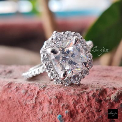 3.76TCW Cushion Colorless Moissanite Engagement Ring, Halo Ring, Vintage Ring, Anniversary Gift Valentine Diamond Ring, Silver Gold Jewelry | 3.76TCW Cushion Colorless Moissanite Engagement Ring, Halo Ring, Vintage Ring, Anniversary Gift Valentine Diamond Ring, Silver Gold Jewelry | Bhumi Gems
