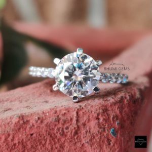 3.56TCW Round Cut Colorless Moissanite Engagement Ring 6 Prong Solitaire Wedding Ring Bridal Jewelry Silver Gold Antique Vintage Gift Her