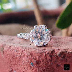 4.12TCW Round Old European Cut OEC Colorless Moissanite Ring, Engagement Ring, Wedding Ring, White Gold Vintage Ring, Antique Ring, Gift Her