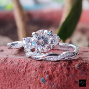 2.94TCW Round Colorless Moissanite Bridal Ring Set, Engagement Ring, Wedding Set, Twisted Eternity Band Anniversary Promise Vintage Gift Her