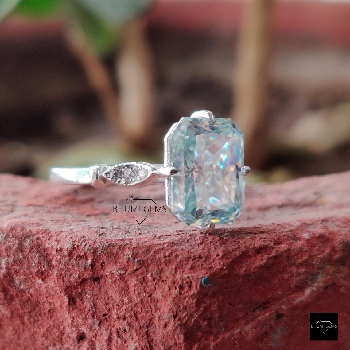 3.65TCW Light Blue Radiant Moissanite Engagement Ring, Vintage Ring, Wedding Bridal Ring, White/Rose/Yellow Gold Solitaire Ring, Anniversary
