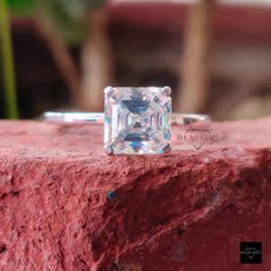 2CT Asscher Cut Moissanite Ring, Engagement Ring, Wedding Bridal Eternity Ring, Solitaire Ring, White Gold Antique Vintage Classic Jewelry