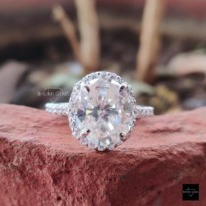 5.79TCW Oval Cut Moissanite Halo Ring, Engagement Ring, Wedding Ring, Bridal Set, White Gold, Anniversary, Promise, Vintage Antique Gift Her