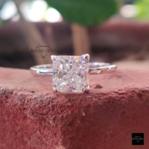 2.92CT Square Radiant Cut Colorless Moissanite Ring, Engagement Ring, Solitaire Ring, Solid White Gold Jewelry, Antique Vintage Gift For Her