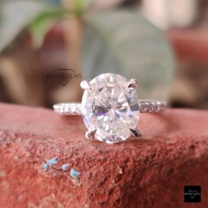 4.42TCW Oval Colorless Moissanite Engagement Ring, Solitaire Ring, Claw Prong Dainty Stacking Ring, White Gold, Antique Vintage Jewelry Gift