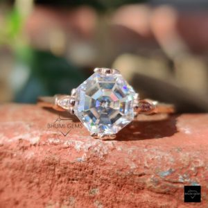 2.72TCW Octagon / Asscher Cut Moissanite Ring, Solitaire Ring, Engagement Ring Antique Ring Vintage Ring Rose Gold Ring Gift For Her Jewelry