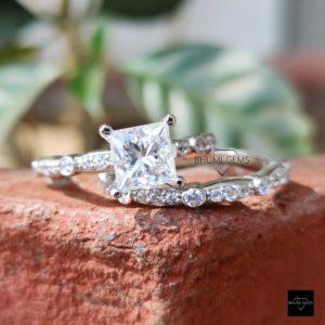 2.98TCW Princess Cut Moissanite Bridal Ring Set, Engagement Ring Wedding Set Half Eternity Band Anniversary Promise Vintage Antique Gift Her