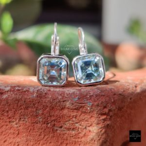 6TCW Asscher Blue Moissanite Earrings, Charms Earring, Diamond Earrings, Stud Earring, Hoop Earring, Bezel Set , Anniversary Gift For Her