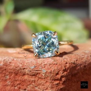 2.68TCW Cushion Blue Moissanite Engagement Ring, Hidden Halo Ring, Solitaire Ring, Wedding Ring, Diamond Ring Anniversary Ring Gift For Her