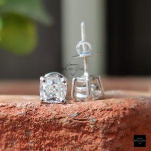 2TCW Cushion Cut Colorless Moissanite Earrings, Stud Earrings, Wedding Earrings White Gold Screw Back / Push Back Earrings Anniversary Gift