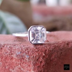 2CT Asscher Cut Moissanite Solitaire Ring For Women, Bezel Setting, Solid White Gold Ring, Moissanite Ring Wedding Ring Gift For Her Jewelry