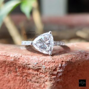 3.38TCW Trillion Cut Moissanite Solitaire Rings, Engagement Ring For Women Silver Gold Ring Wedding Bridal Antique Vintage Anniversary Gifts