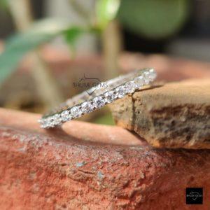 2MM Round Moissanite Ring, Wedding Band, Engagement Ring, Full Eternity Band, Diamond Ring, Anniversary Ring, Promise Ring, Gift For Her