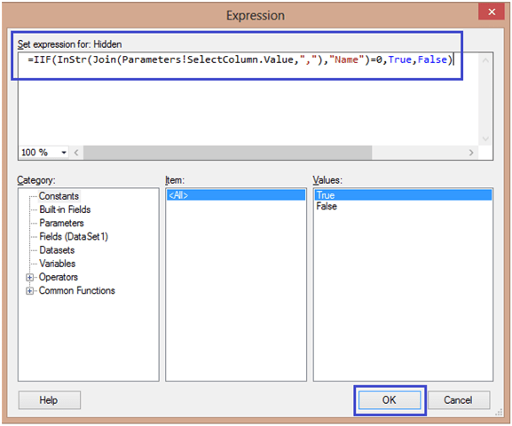 7-Conditionally Setting Column Visibility in SSRS