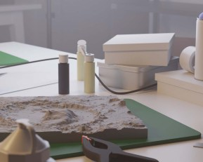 Egemen Tuncer, bir stüdyoda krater, bilgisayar tabanlı görselleştirme, arşivsel pigment baskı,2019