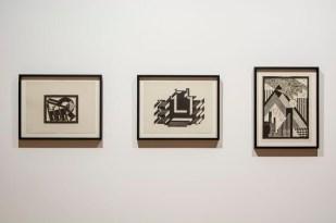 bauhaus imaginista: Uzaklarda. İstanbul sergisi kapsamında, Hannes Meyer'in linolyum baskıları (tahminî 1924-1926) Fotoğraf: Mustafa Hazneci