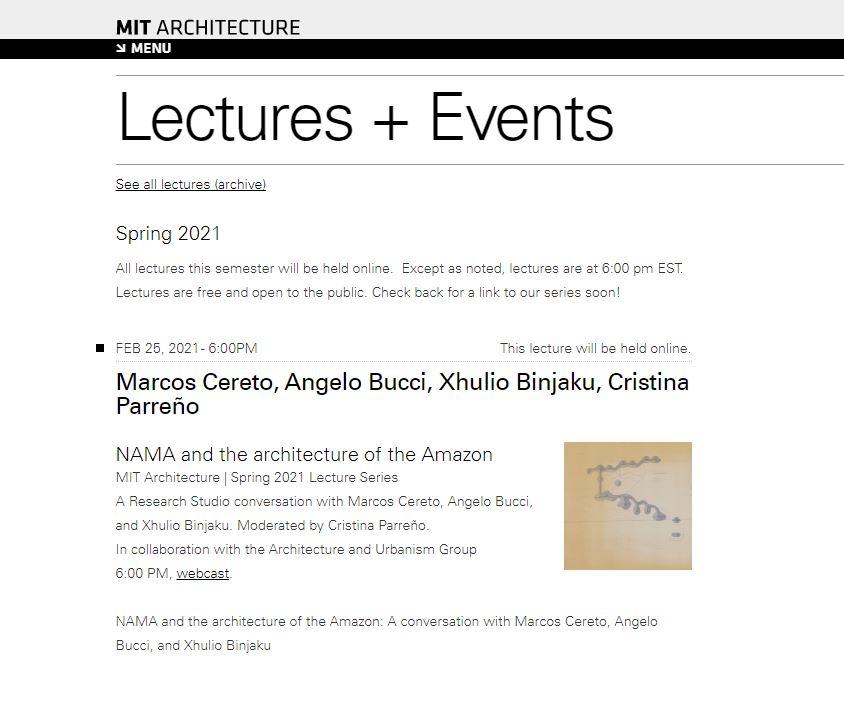MIT Department of Architecture, Bahar 2021 Programı, Takvim Sayfası