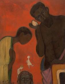 Ivan Kliun (1873-1943), Aile, 1911, Mukavva üstüne yağlıboya, 45 × 36 cm, Devlet Çağdaş Sanat Müzesi, Costakis Koleksiyonu, 85.78-161