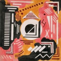 Olga Rozanova (1886-1918), Dekoratif Kompozisyon, 1916 civarı, Kağıt üstüne suluboya ve guvaş, 34,1 × 34,6 cm, Devlet Çağdaş Sanat Müzesi, Costakis Koleksiyonu, 250.78-285