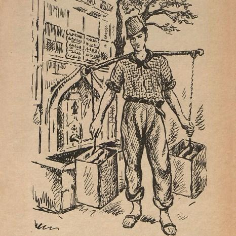 """""""Çeşmebaşında ayaktakımından bir İstanbul Delikanlısı"""", Sabiha Bozcalı çizimi İstanbul Ansiklopedisi, Cilt: 7 , 1965"""