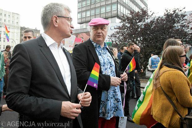 Marsz Równości w Poznaniu. Jacek Jaśkowiak i dyrektor teatru Polskiego Maciej Nowak