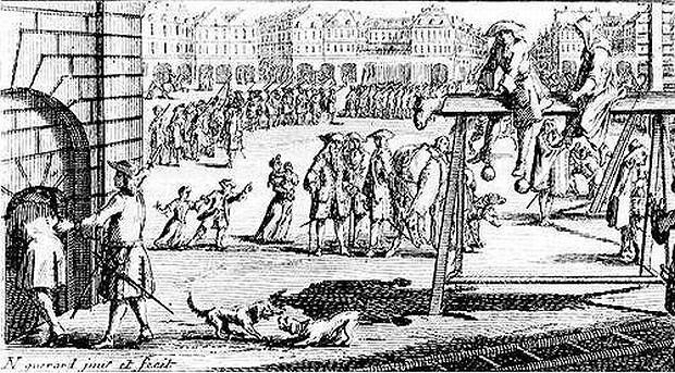 Drewniany osioł na Targu Węglowym. Autor Peter Giler, rok ok. 1687.