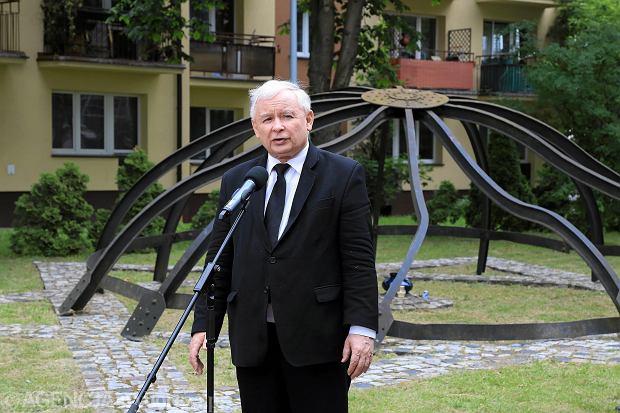 27.06.2016 Białystok. Prezes PiS Jarosław Kaczyński podczas uroczystości upamiętniających likwidację getta