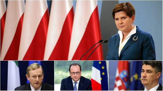 Premier Beata Szydło zrezygnowała z używania flagi UE podczas wystąpień. Tu wyjątek w Europie: poniżej od lewej zobaczymy premiera Irlandii Endę Kenny'ego, prezydenta Francji Francoisa Hollande'a oraz premiera Chorwacji Zorana Milanovica podczas publicznych wystąpień