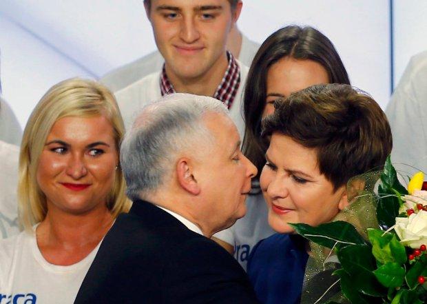 Wybory parlamentarne 2015. Jarosław Kaczyński i Beata Szydło na wieczorze wyborczym w sztabie PiS