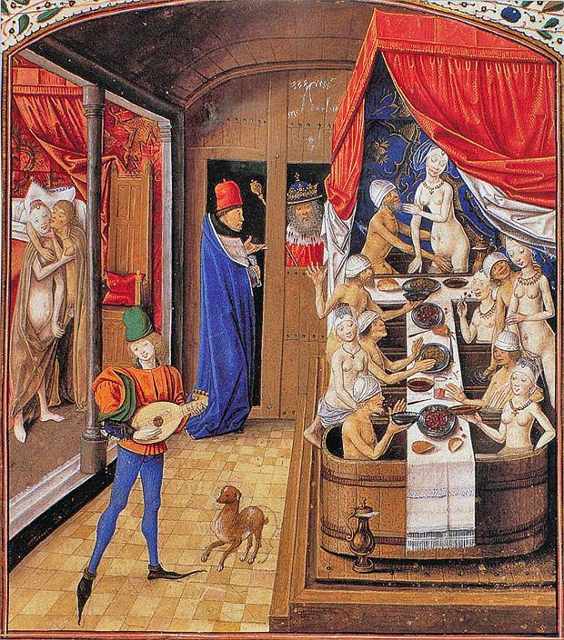 Kąpiel, wino, miłość i śpiew - takie przyjemności zapewniała średniowieczna łaźnia. Ilustracja z XV-wiecznego rękopisu wykonanego dla Antoine'a,