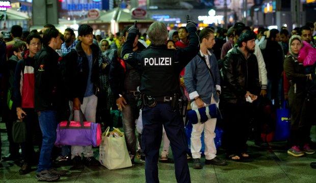 Uchodźcy na dworcu w Monachium