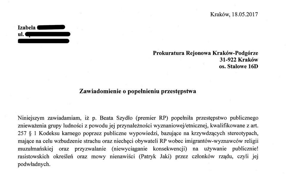 Fragment zawiadomienia z 18. 05. 2017 o podejrzeniu popełnienia przestępstwa przez premier Beatę Szydło
