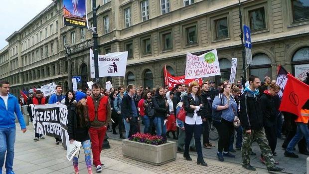 Protest prekariuszy w Warszawie