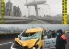 Katastrofa w Tajpej: o tę taksówkę zahaczył skrzydłem samolot, kierowca uniknął śmierci