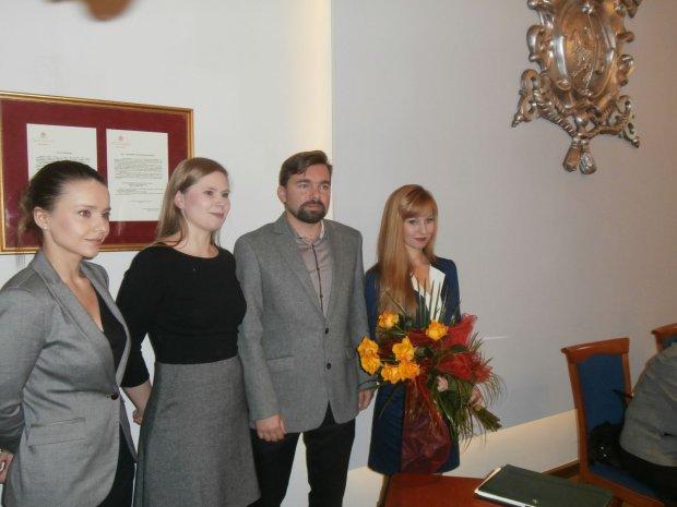 Burmistrz Mateusz Klinowski i jego współpracownice (od lewej): Karolina Czyżowicz, Ewa Całus, Dorota Wyganowska