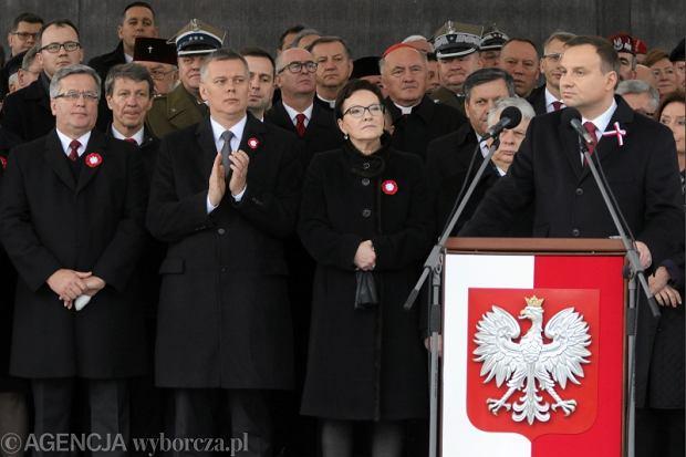 Andrzej Duda i Ewa Kopacz podczas uroczystości z okazji Święta Niepodległości