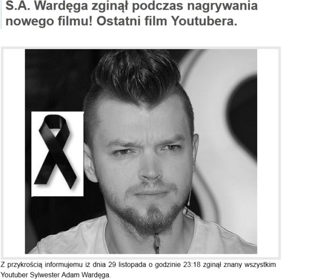 Artykuł o śmierci Wardęgi na portalu Wawa-info.pl